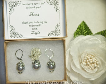 Personalized Grey Bridesmaid Pearl Earrings and Necklace Set  - Grey Pearl Earrings and Necklace Set - Bridesmaid Set - Grey Pearl Set