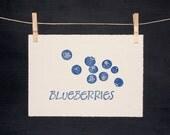 SALE! - Blueberries Print - Hand Pulled Linocut - ORIGINAL