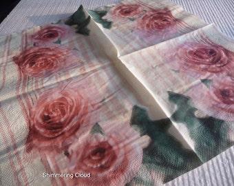 Flower, Floral, Paper Napkins, Decoupage, paper, napkins, decoupage supplies, paper, white,  multicolor, Scrapbooking, spring, pale, 4 pcs