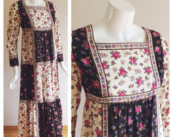 Christian Dior 1970s Patchwork Maxi Dress