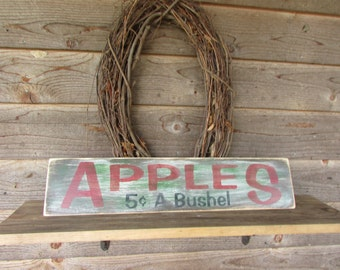 country home decor, kitchen signs, home decor, primitive decor, primitive rustic signs, hand painted signs, apple decor, country decor, sign