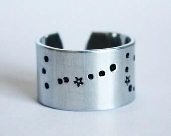 Scorpio Zodiac Constellation Ring. Scorpio sign constellation jewelry. Wide band zodiac ring. Scorpio birthday gift. Astrology. RTS RA018