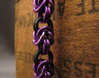 Purple and Black Chainmaille Bracelet