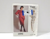 Kasper Vogue Sewing Pattern FF uncut 80s Cocktail Evening Dress Vogue 1691 Size 12 Bust 34 American Designer Dynasty Glamour Free us ship