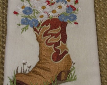 Cowboy Shoe with Flowers- DISCOUNTED for FLAW