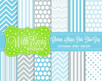 SALE  Blue and Grey Digital Paper - Blue and Gray Scrapbook Paper - Chevron Digital Paper - Polka Dot Paper - Commercial Use Ok