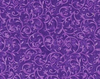 Purple Floral Fabric, Marseille by Blank Quilting, Amethyst,  Purple Fabric, Floral Fabric, 02205