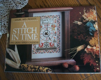 Leisure Arts 1993 Calendar 'A Stitch In Time' with PATTERNS