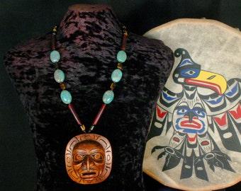 Sun Mask Necklace, Shaman Necklace, Totem Necklace, Native American Jewelry, Sun Pendant, Sun Jewelry, American Indian Necklace