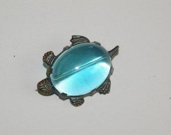 Big Turtle Pin -  Sterling Frame -Aqua Lucite Cab - a 1930's Classic