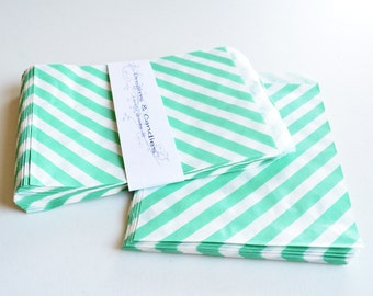 75 Patterned Teal Lines Paper Bags for decorate, party favors, and many more Size 5 1/8 x6 3/8""