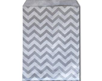 100pcs 5x7 Chevron Paper Silver Merchandise Bags - Craft Fairs - Birthday Party Favor