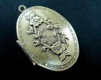 wholesale 5pcs vintage brass bronze locket pendant,photo locket,oval locket 1121007