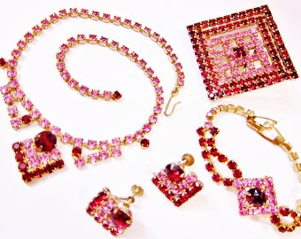 Vintage Pink Red Rhinestone PARURE 4 PIECE Necklace Bracelet Earrings Brooch