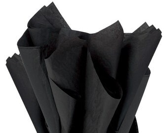 "Black Tissue Paper 24 sheets Black Soild  DIY  Wedding Decor Craft Supplies  20"" X 30"" Gift Wrap Favor Box Tissue DIY Pom Pom Supplies"