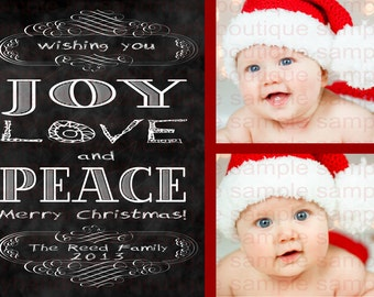 Chalkboard Christmas Photo Card Joy Love Peace Two Photos Pictures Pics Blackboard Holiday Greeting Cards Red Black White Chalk Board