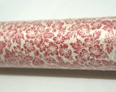 Vintage FULL ROLL Shelf Drawer Liner Paper Deep Pink Rouge / Muted Red / Dusty Rose and white Strawberry Blossoms White background