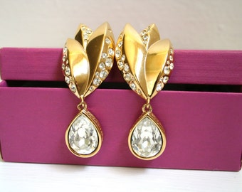 Vintage Givenchy Rhinestone Drop Clip Earrings