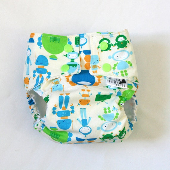 Robot Water Resistant PUL Diaper Cover Available in Small