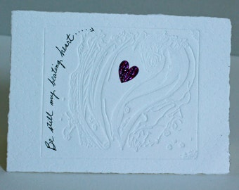 """Enjoy my small """"beating heart"""" card and envelope is 3.5"""" x 5"""" without the letterpress border on my larger card"""