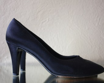 Vintage YSL Black Silk High Heels