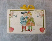 Adorable Artist Signed Edwardian Era Valentine Postcard with Silk Bow-Ethel DeWees