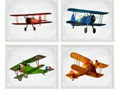Vintage Airplane Art Print Set - SALE 25% OFF Nursery Boys Gray Room Red Green Orange Blue Biplane Flying Aviation Home Decor Photograph