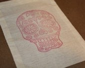 Set of 10 Hand stamped Sugar Skull Muslin Party Favor Bags 100% organic Eco Friendly