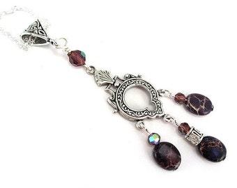 Sea Sediment Jasper Keyhole Necklace - Aqua Terra Jasper Necklace - Purple Gemstone Necklace - Keyhole Necklace