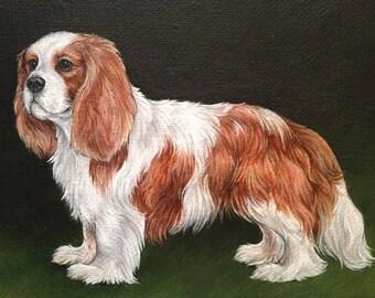 "Cavalier King Charles Spaniel Painting Original Artwork 5""x7"""