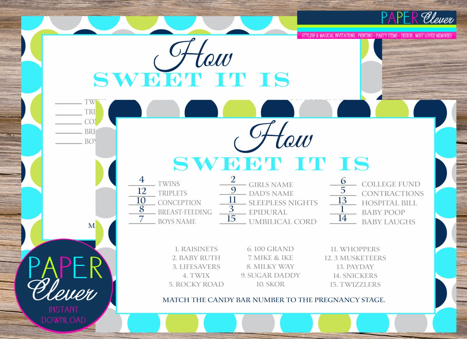 candy bar stages baby shower game aqua lime navy by paperclever