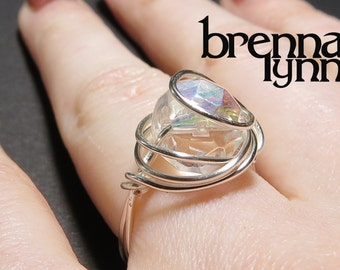 Unique Brenna Lynn Jewelry Handmade Wire Wrapped Ring, Clear Crystal with Silver or Gold Wire