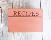 """Coral SHABBY CHIC / Rustic Wood Recipe Box STAMPED with """"Recipe"""" on Front"""