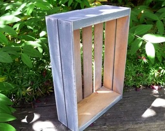 Whitewashed Gray Crate - SHABBY CHIC Wood Crate Box Shelf Storage