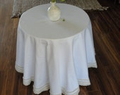 Round Handmade Tablecloth Ivory French Country Decor French Wedding Table CHOOSE Size