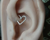 16 gague Sterling silver heart cartilage / tragus / rook / daith earring (1pc)