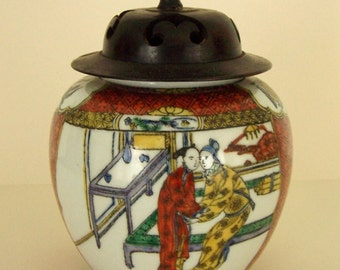 HAPPY COUPLE - Handpainted Ginger Jar From Hong Kong With Carved Rosewood Lid
