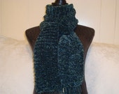 Women's  Scarf.Knit  in Green.Chenille. Mom.Winter/Fall.Long.Warm.Velvet.Gift.