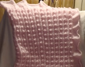 "Baby  Blanket  Knit  in Pink. Ruffled.Popcorn.Newborn.Infant.Girl. Gift.Throw.Toddler.Ready  to  ship.33""x37"""