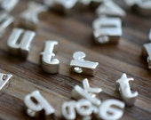 1 Pc Sterling Matte Silver Plated Metal LOWERCASE Alphabet Charm Beads Tiny Delicate Pretty Monogram initial letter (AU154-AU179)