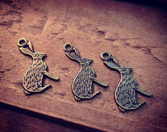 Rabbit Charms Antique Bronze Rabbit Hare Bunny Alice in Wonderland Charm Woodland Vintage Style Pendant Charm Jewelry Supplies (B031)