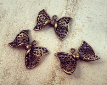6 Pcs Large Bow Charms Netted Antique Bronze Bow Charm Bow Tie Charm Bows Vintage Style Pendant Jewelry Supplies  (BC134)