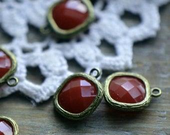 4 - Square Jewel Charms BRICK RED Drop Gem Jewels Square 12mm Opaque Brick (AW027)