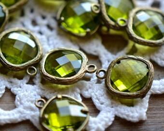 Square Jewel Charms OLIVINE Drop Gem Jewels Square 12mm Antique Bronze Plated Brass Bezel Light Green (AW025)