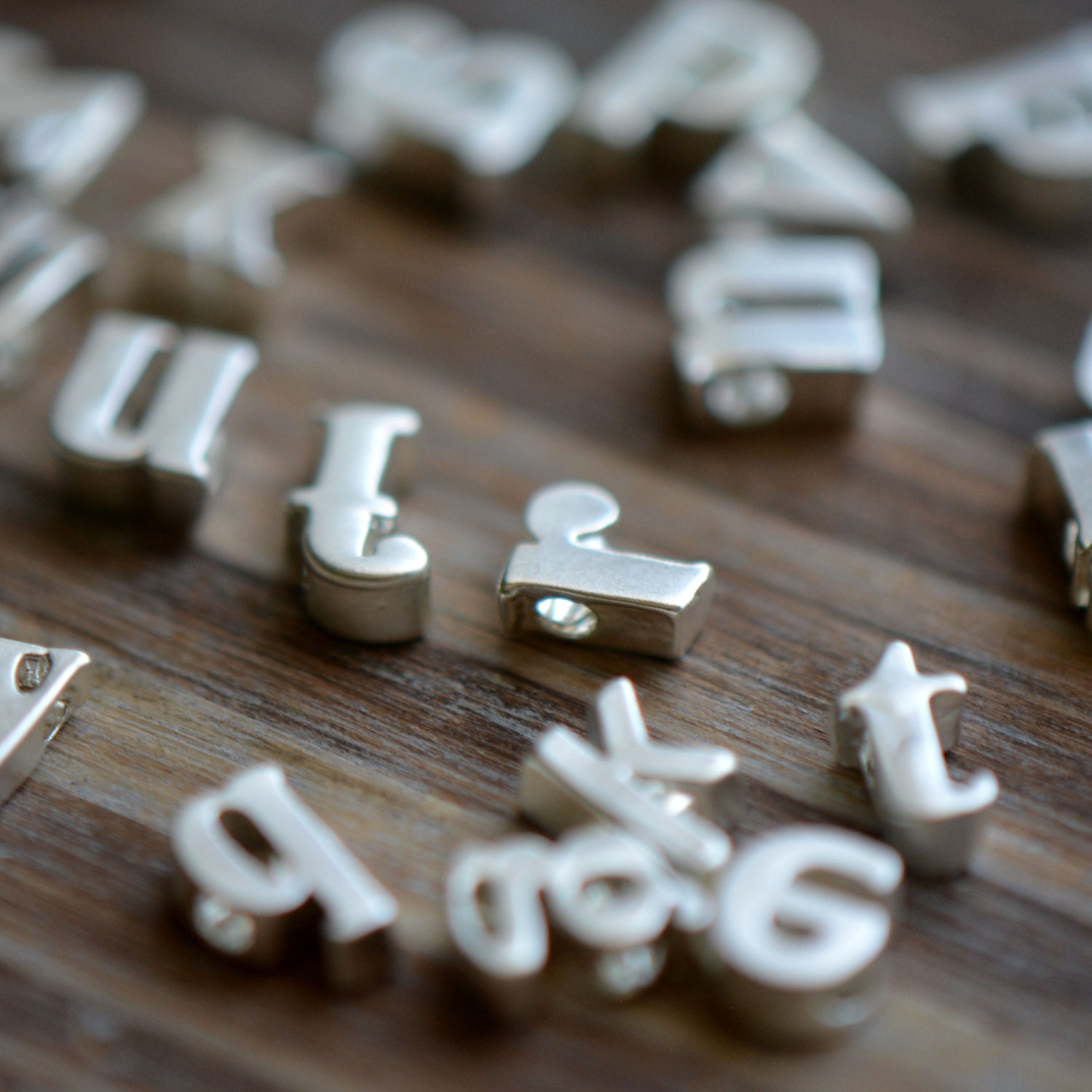 Tiny Metal Letters 1 Pc Sterling Matte Silver Plated Metal Lowercase Alphabet Charm