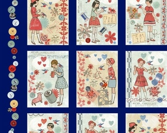 Windham Fabrics - Handmade - Vintage Pattern Covers - Blue - PANEL Fabric