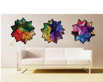 Rainbow Geometric origami stars- set of 3 large size- fabric wall decal