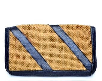 Vintage Large Navy Blue Leather Striped Woven Straw Clutch Vtg Hemp Stripes Handbag Purse