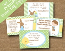 Instant Download - Easter Treat Bag Toppers for Kids DIY PRINTABLE Christian Easter Scripture Bible Verse Treat Toppers for Boys