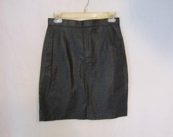 80's Vickie Leather High Waist Skirt
